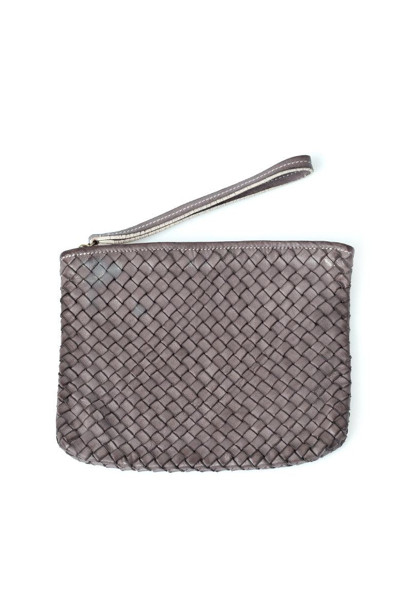 Leather Weave Clutch in Taupe