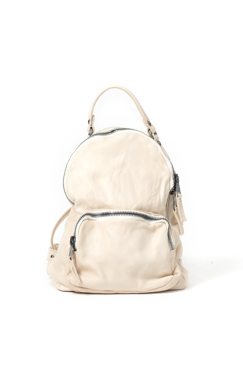 Small Leather Backpack in Wool White