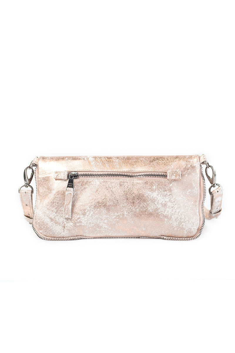 Leather Zipper Purse in Wool Rose