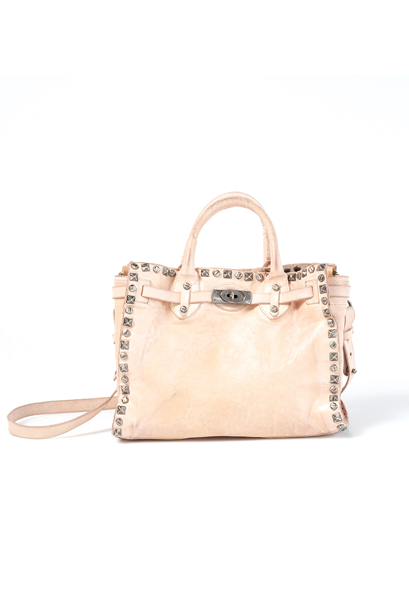 Studded Leather Bag in Cream