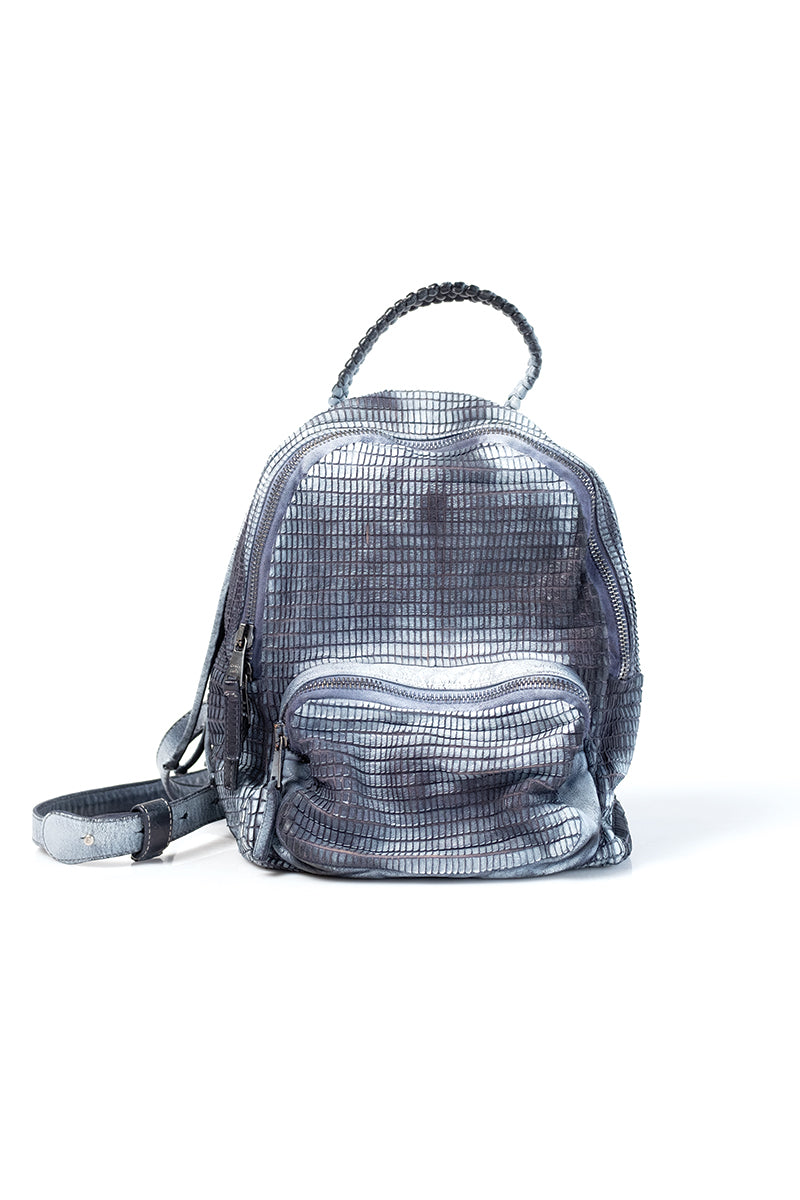 Leather Backpack in Night White