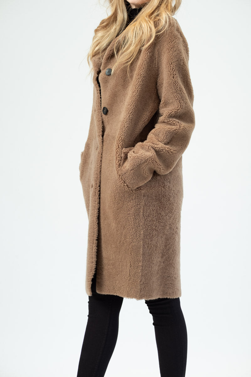 In In Coat Reversible Reversible Camel Shearling Shearling Coat gTFnY