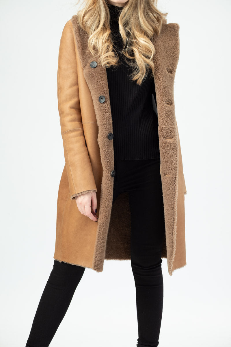 Shearling Reversible Coat in Camel