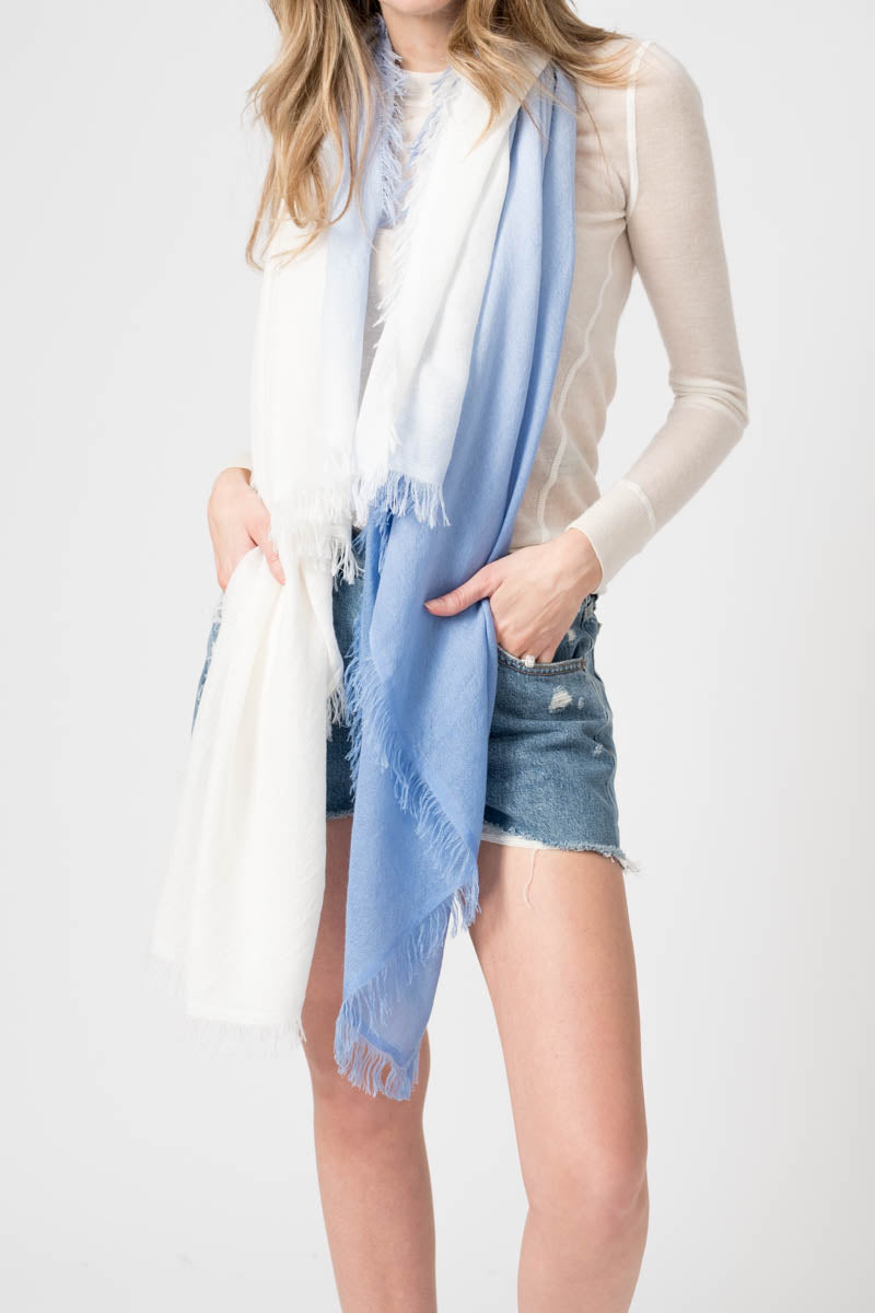 Cashmere Silk Scarf in Ombre Blue