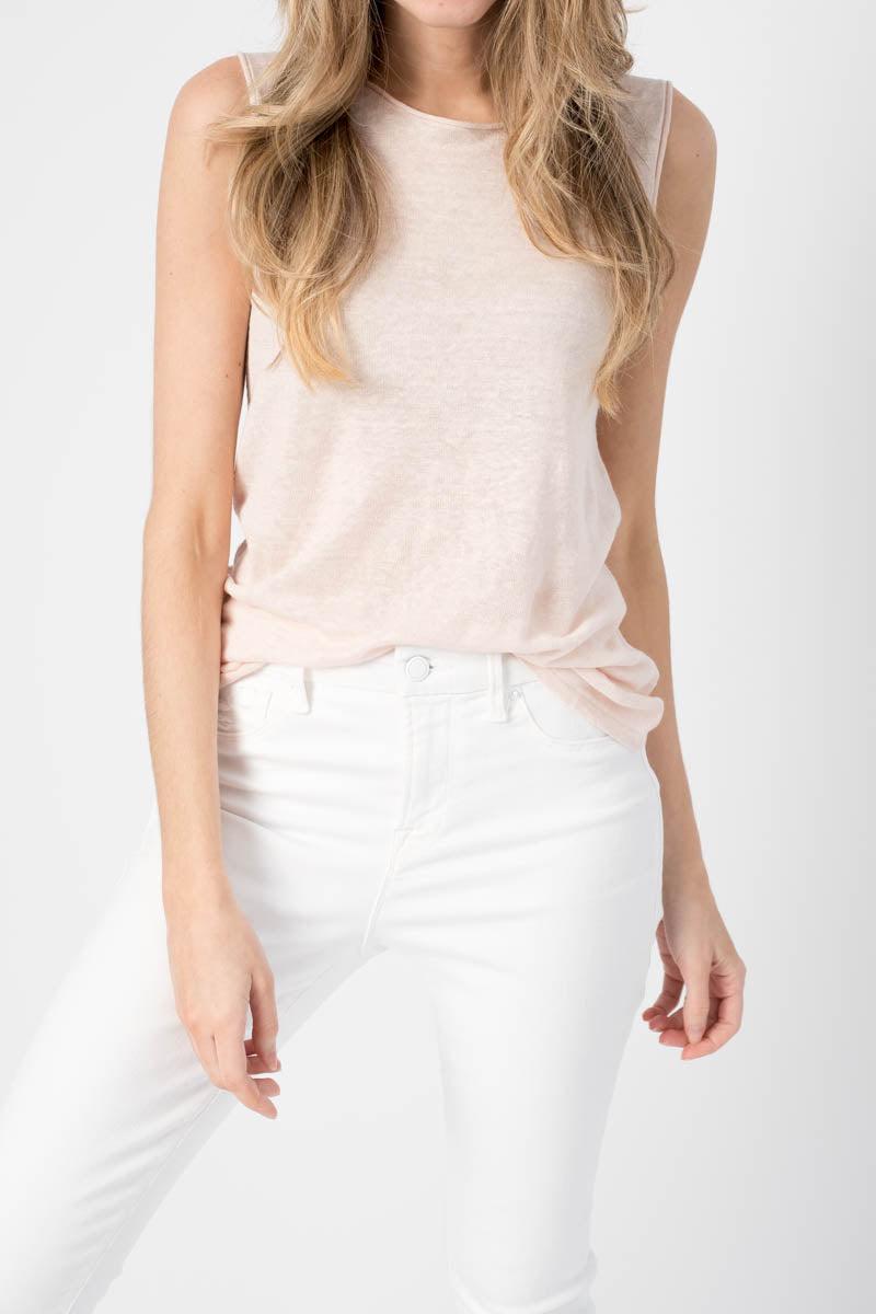 Sleeveless Knit Top in Powder