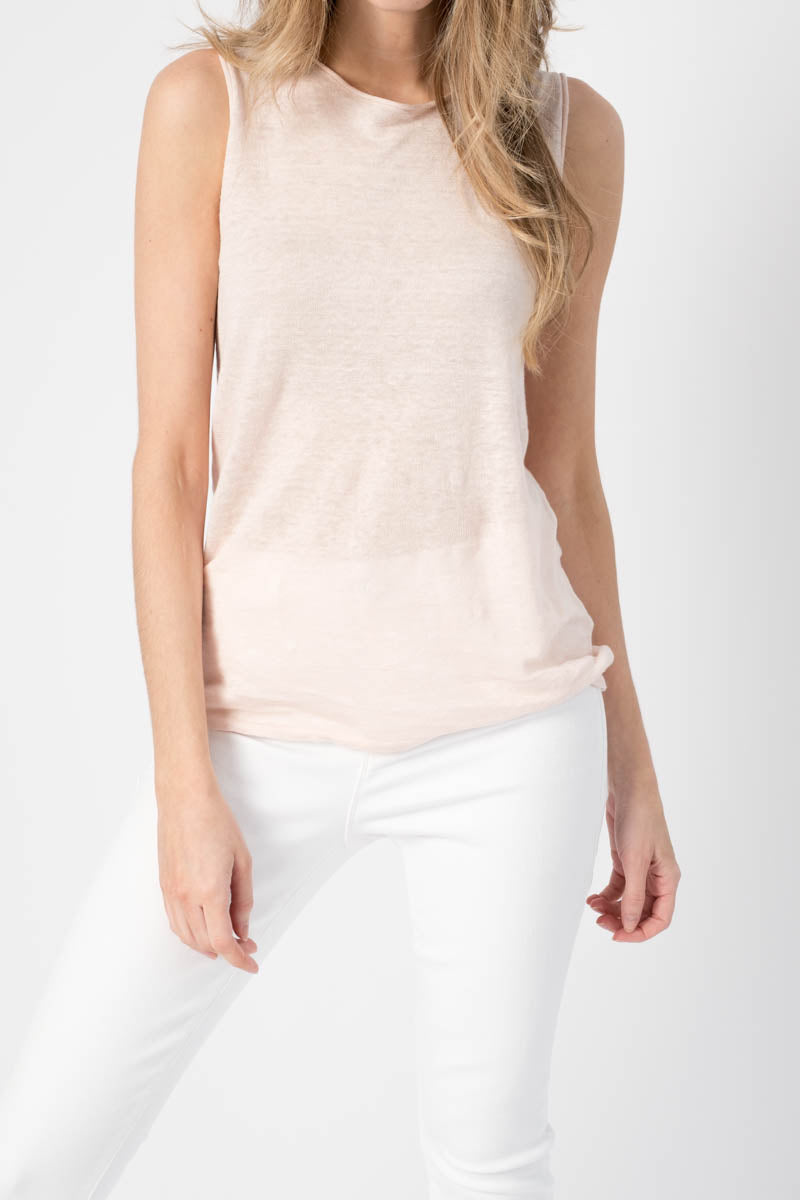 Sleeveless Knit Top in Powder Puff