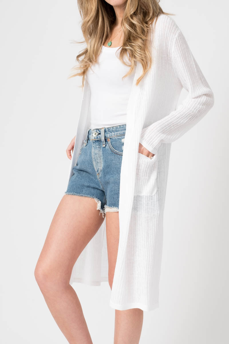 Long Linen Duster Cardigan in White