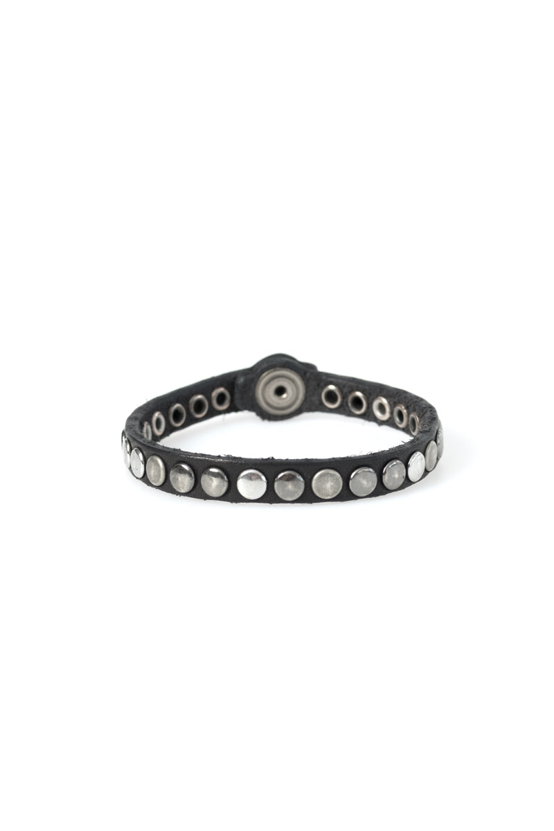 Leather One Line Studded Bracelet in Black