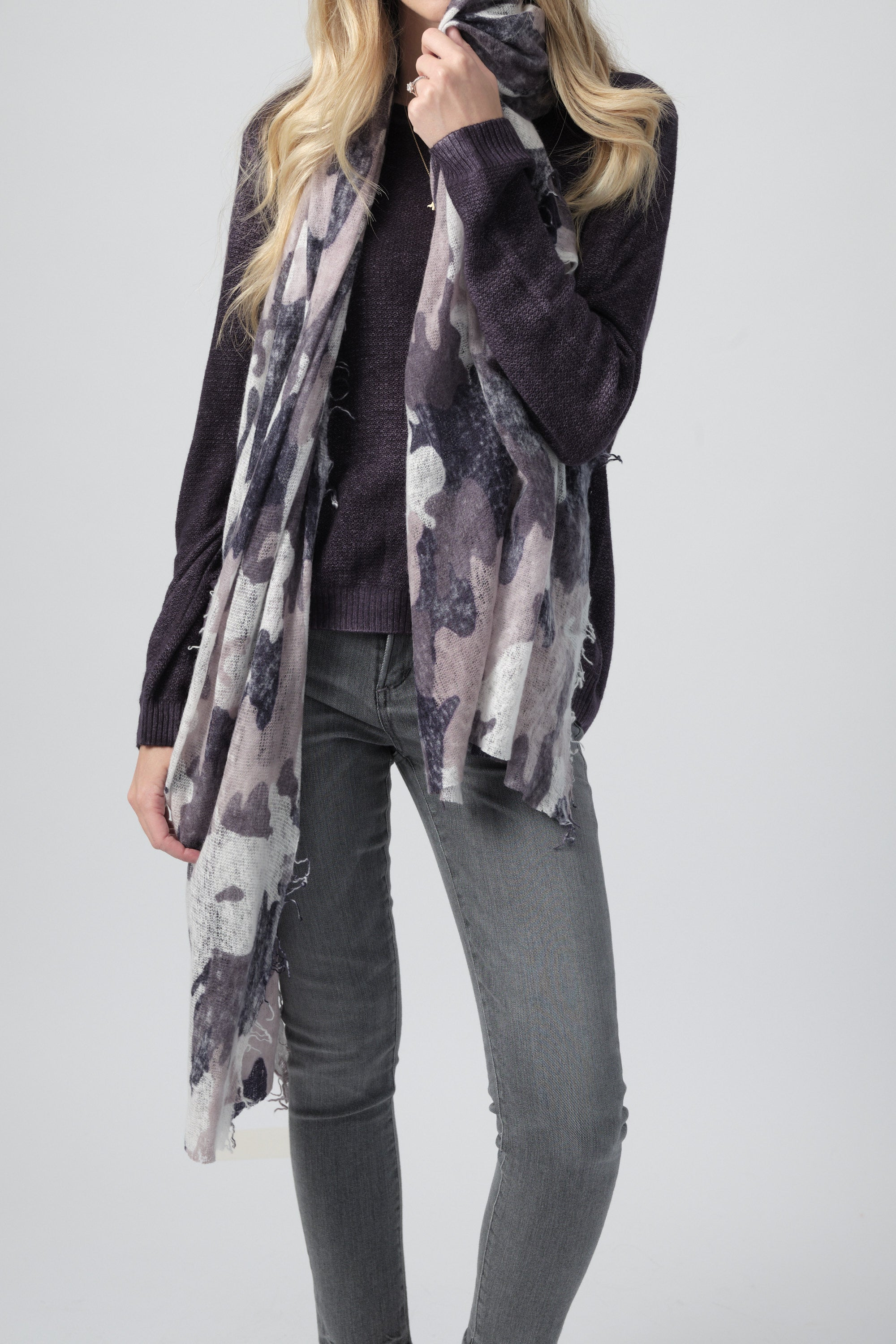 Cashmere Scarf in Purple Grey Camo Print