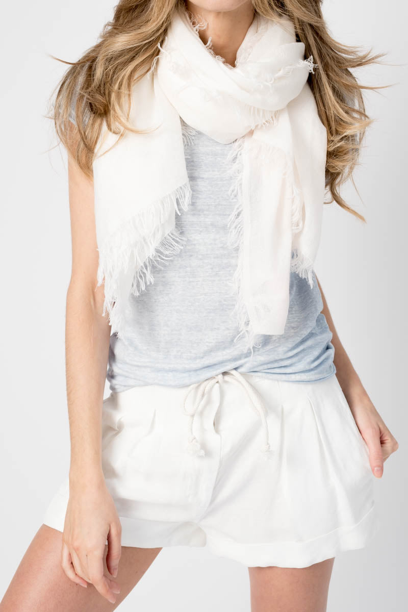 Cashmere Silk Scarf in Ombre Powder