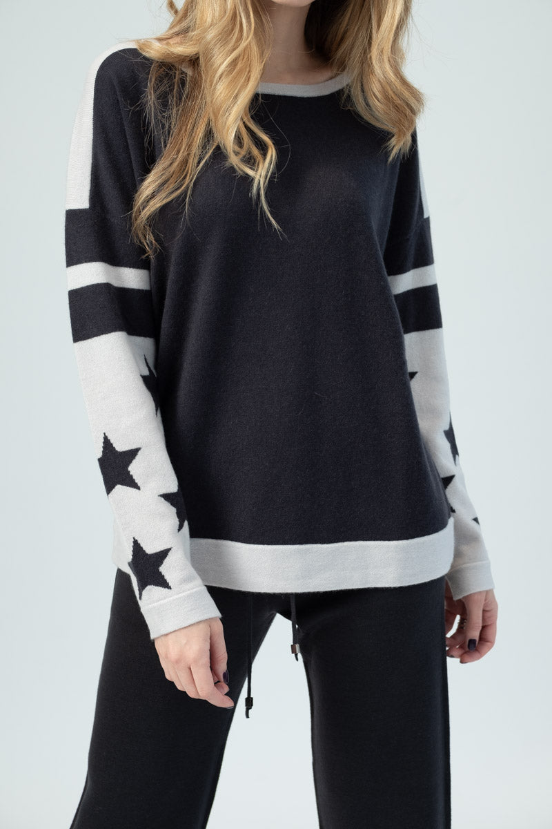 Two-Tone Stars Pullover Sweater