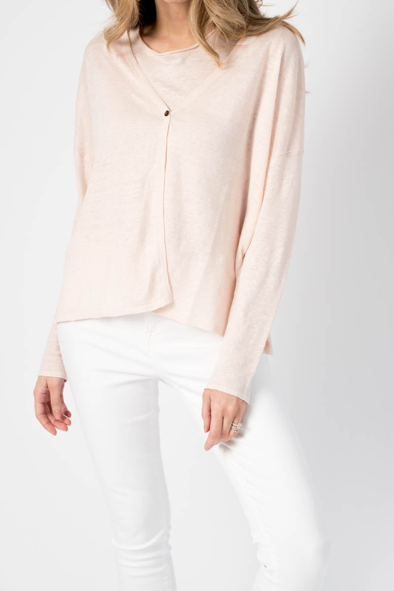 V-Neck Cardigan in Powder