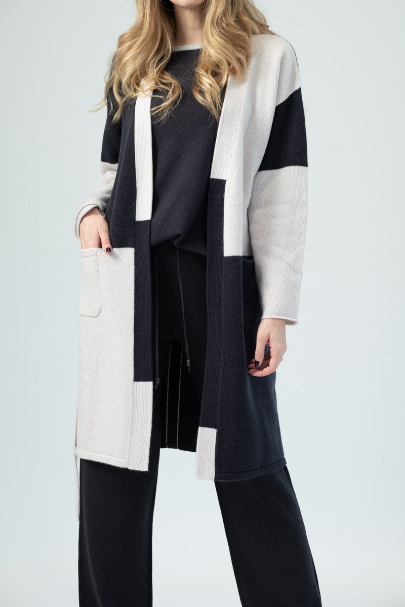 Two-Tone Long Cardigan