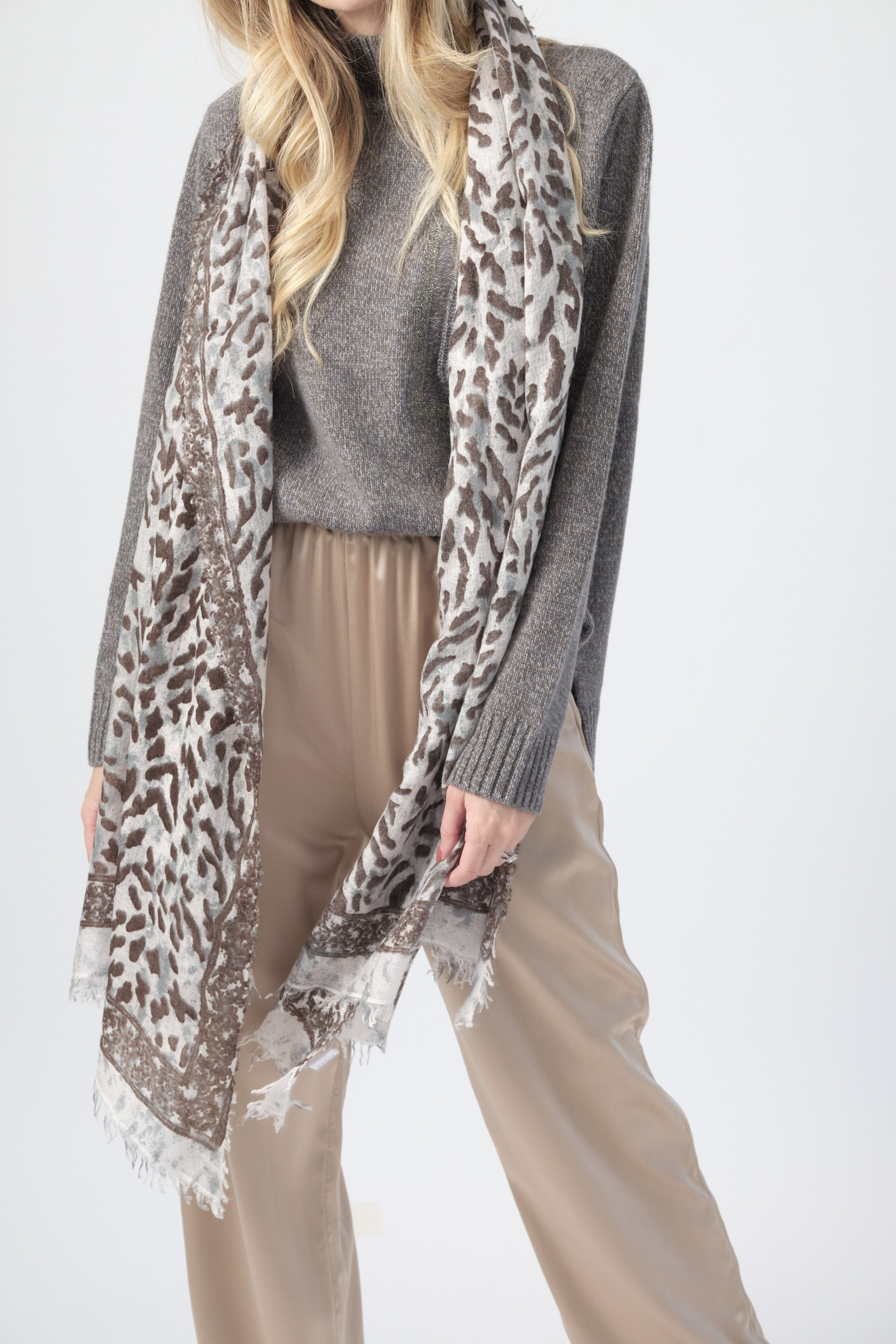 Wool Scarf in Animal Print