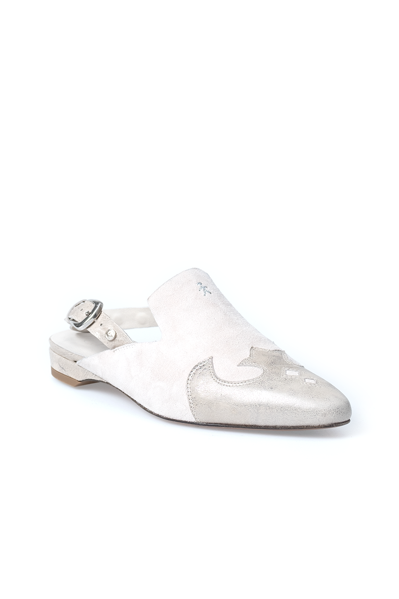Leather Slingback Shoe in Metal Wash Panna + Suede Panna