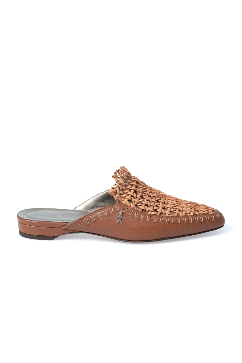 Woven Leather Mule in Rete Nudo