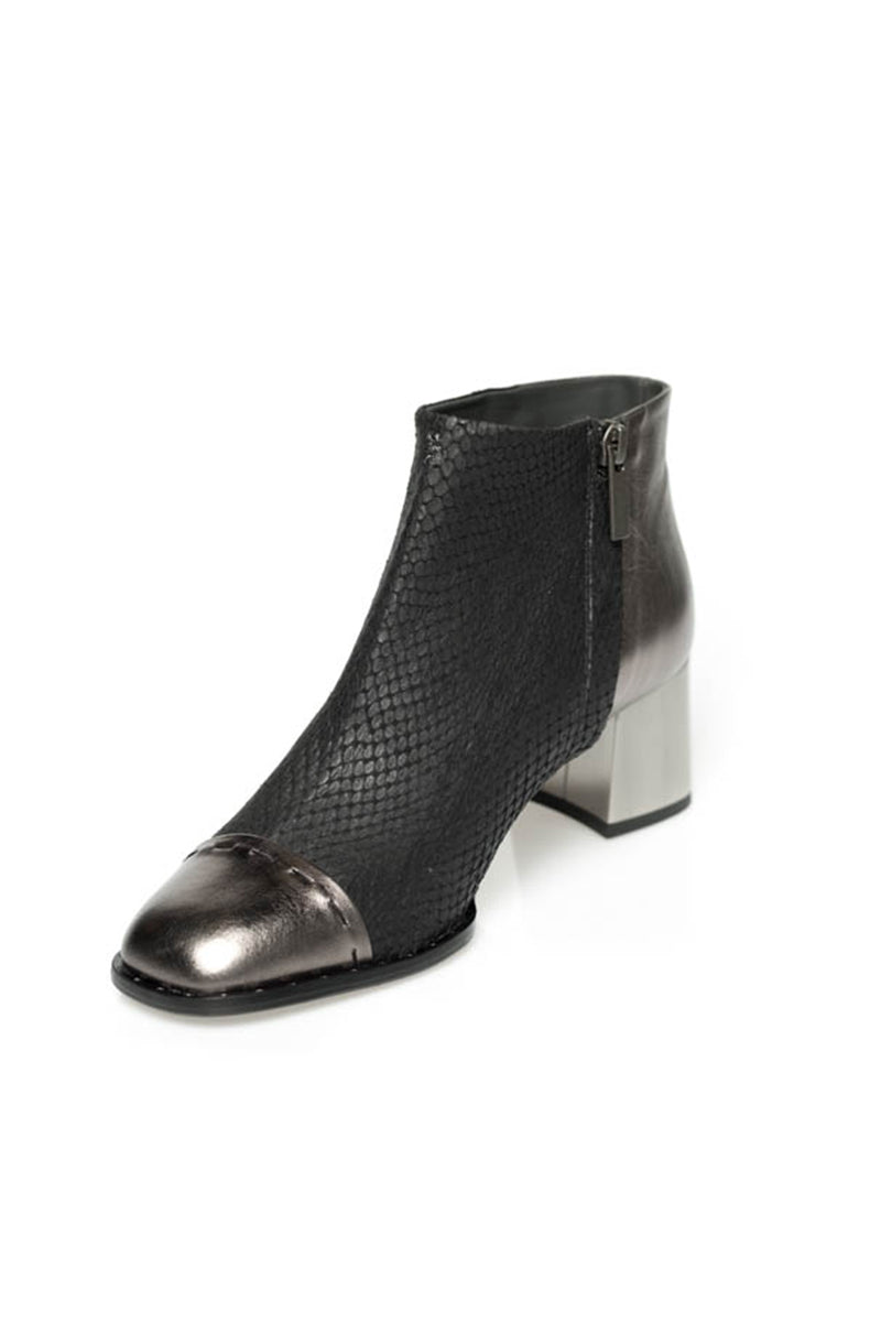 Leather Ankle Bootie in Black and Silver