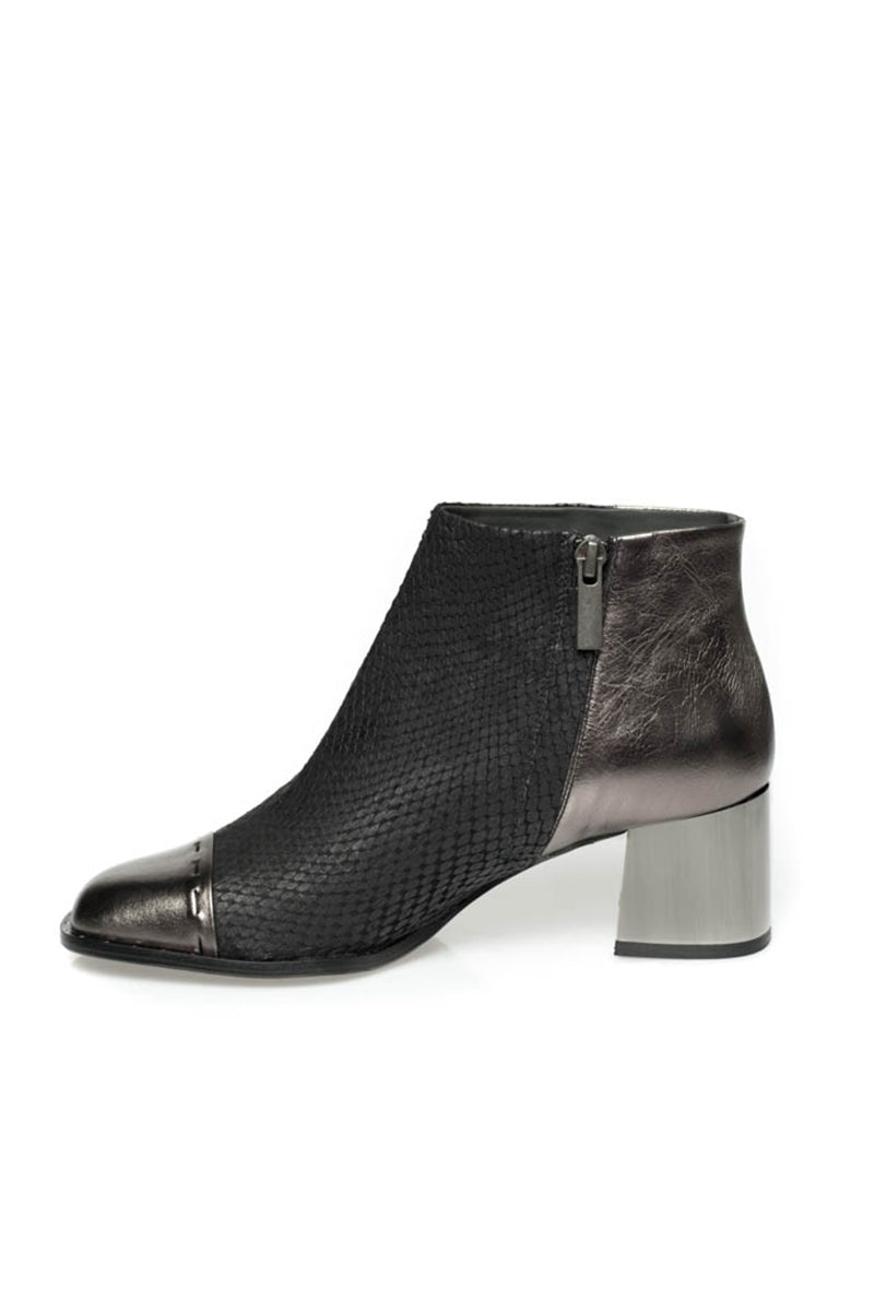 Black and Silver Heeled Ankle Bootie