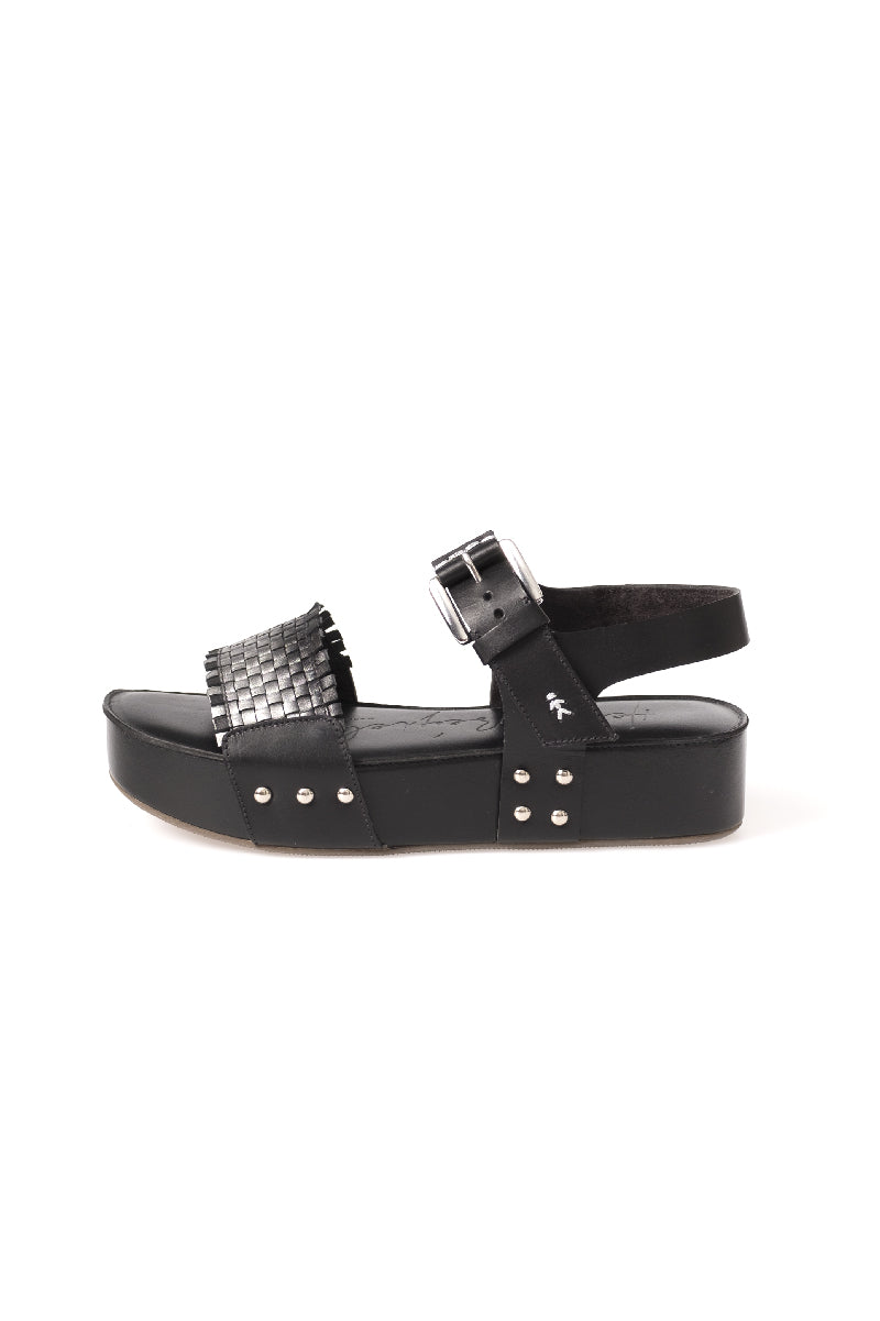 Calf Leather Zeppa Sandal Sfumato Nero