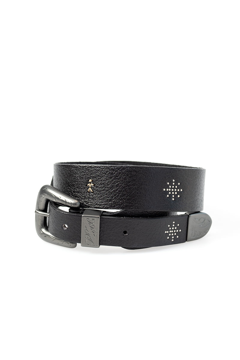 Celebrity Leather Belt in Nero Matte Buffalo Hide