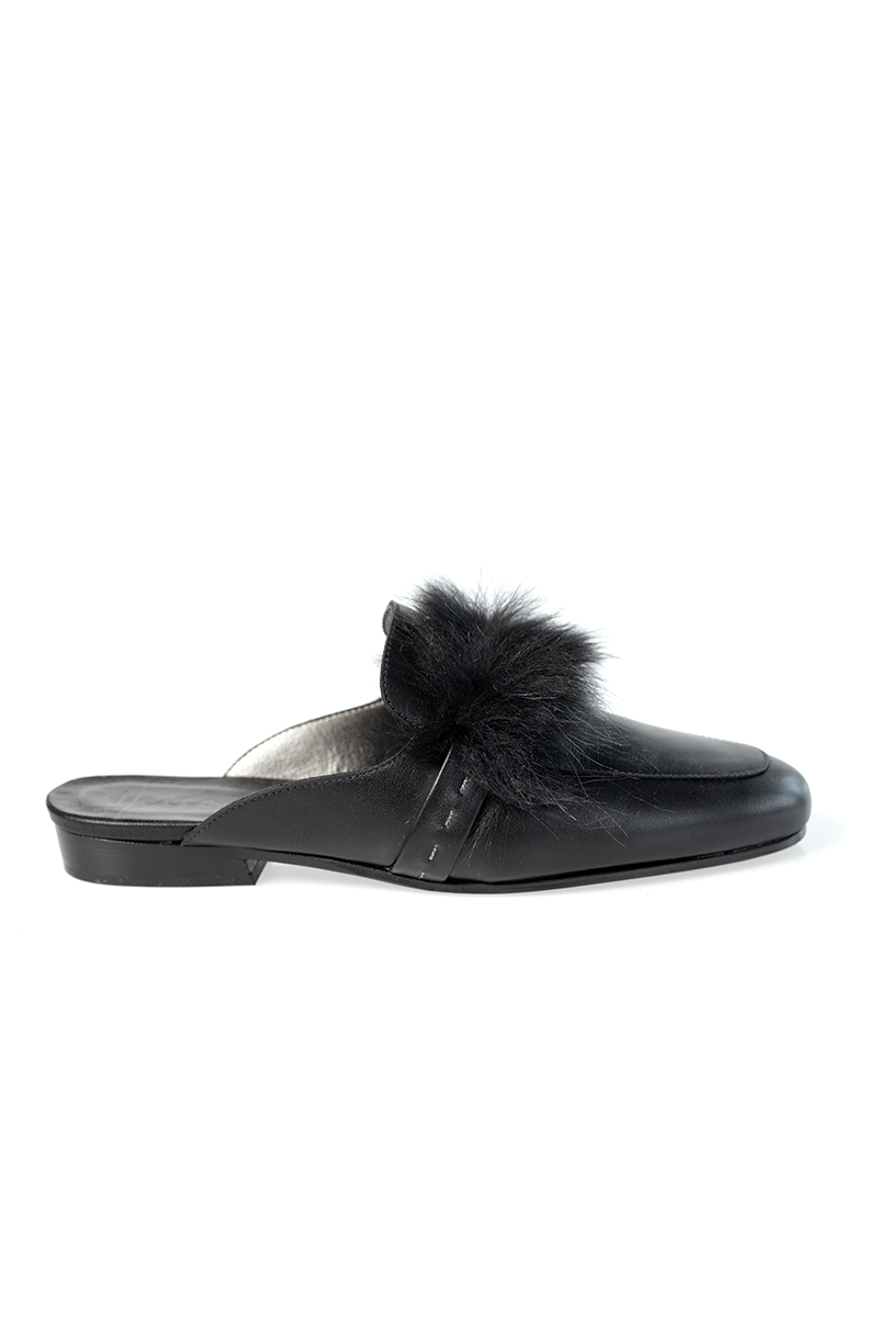 Fur Slip On Leather Mule in Nero