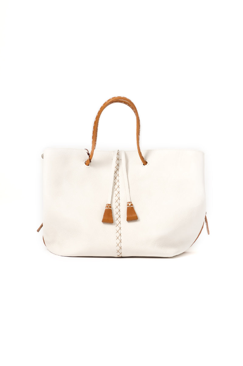Genziana Leather Bag in Gesso