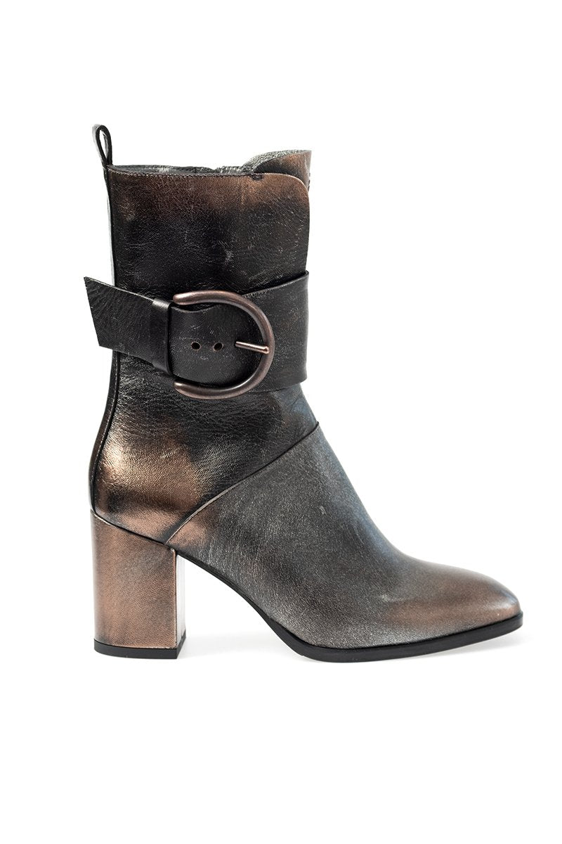 Taller Low Leather Boot with Band / Fascia in Bronzo