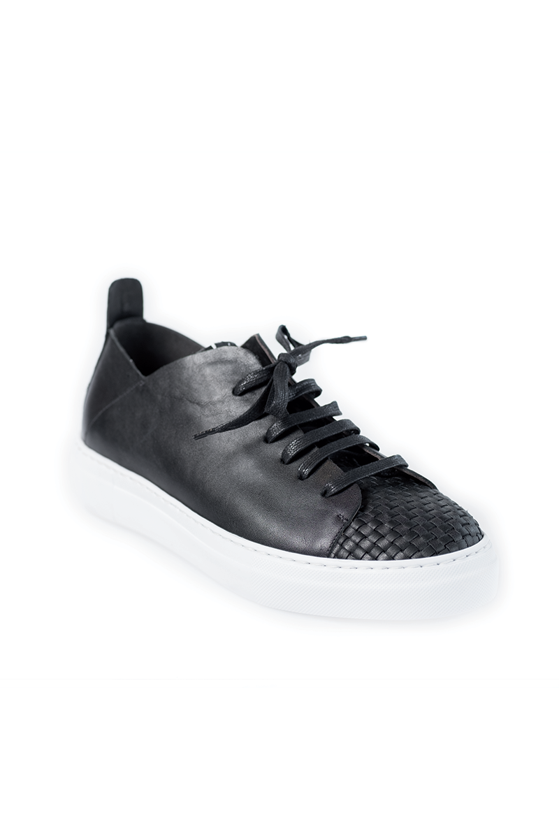 Men's Nappa Leather Sneaker in Nero