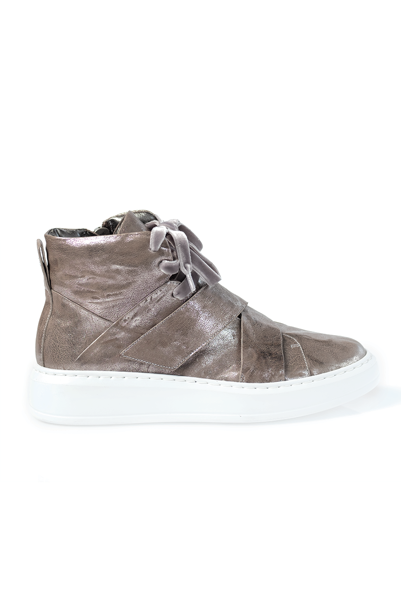 Metallic Leather High Tops with Velcro Straps in Antracite