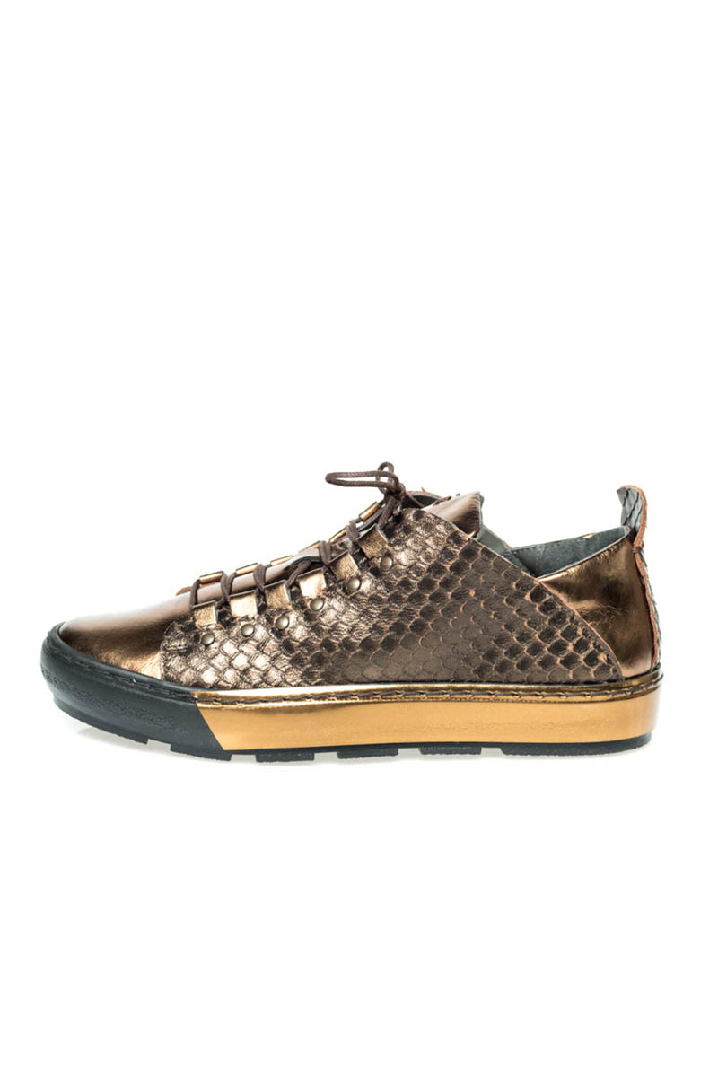 Bronze Metallic Leather Sneaker
