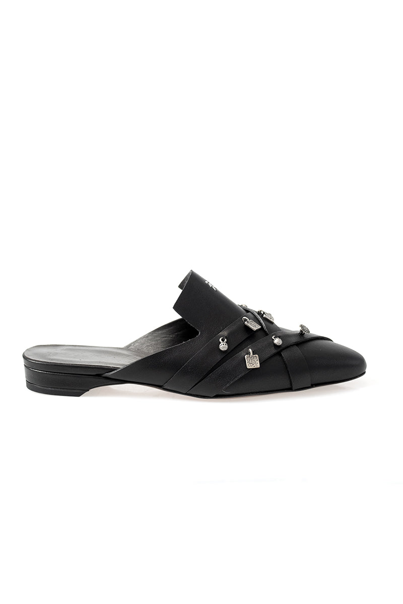 Nappa Black Leather Mule with Argentini