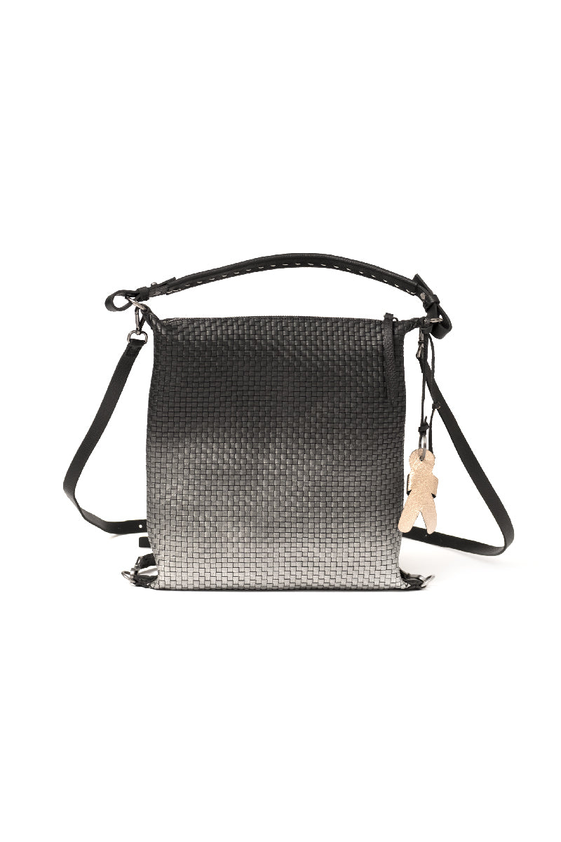 Woven Leather Backpack Sfumato Cervo in Nero