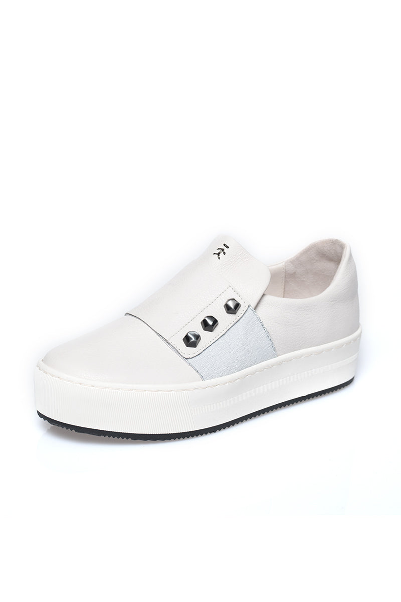 Elastic Platform Leather Sneaker in Gesso