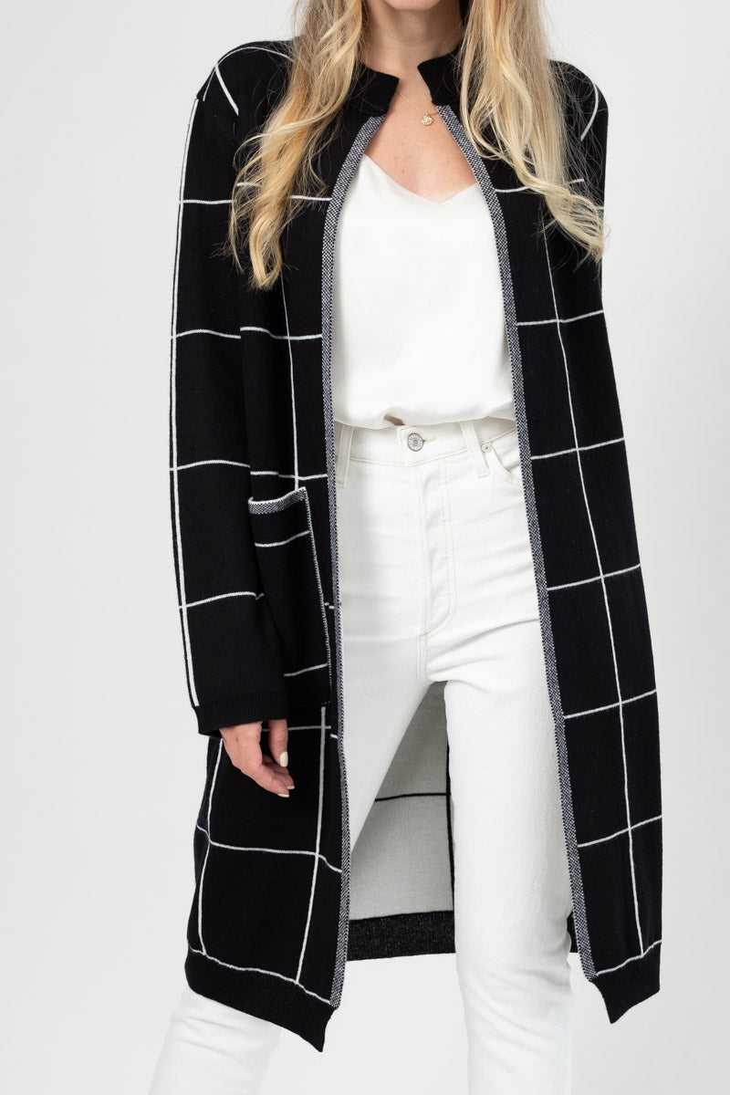 Reversible Sweater Coat in Black / White with Black / White Stiching