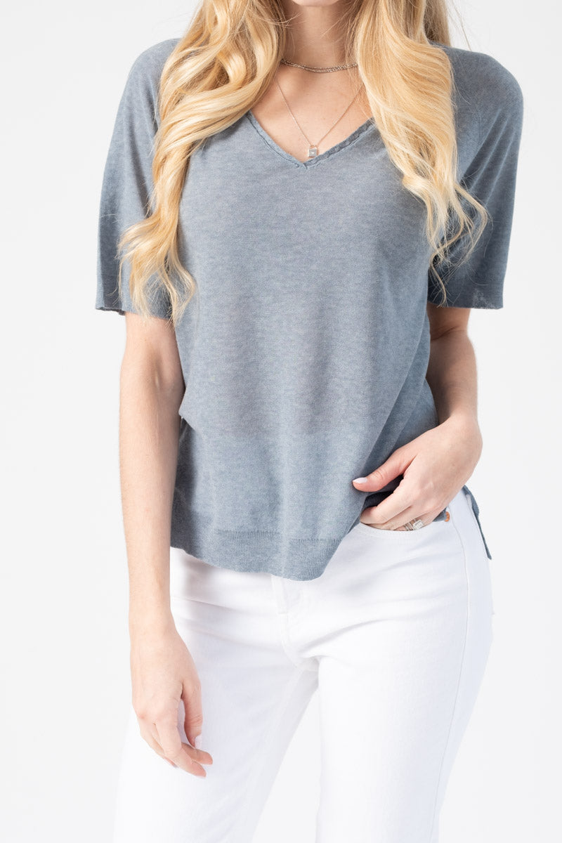 Cotton V-Neck Tee in Flagstone