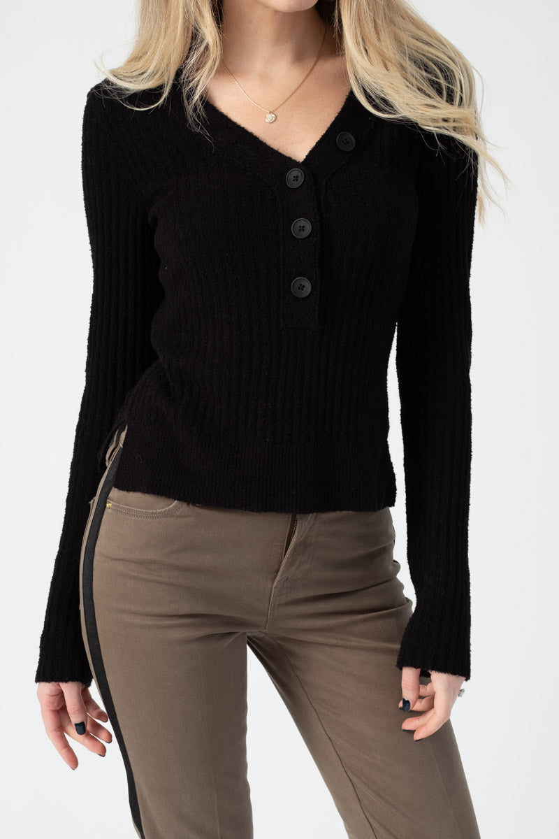 Ribbed V-Neck Cotton Sweater in Black