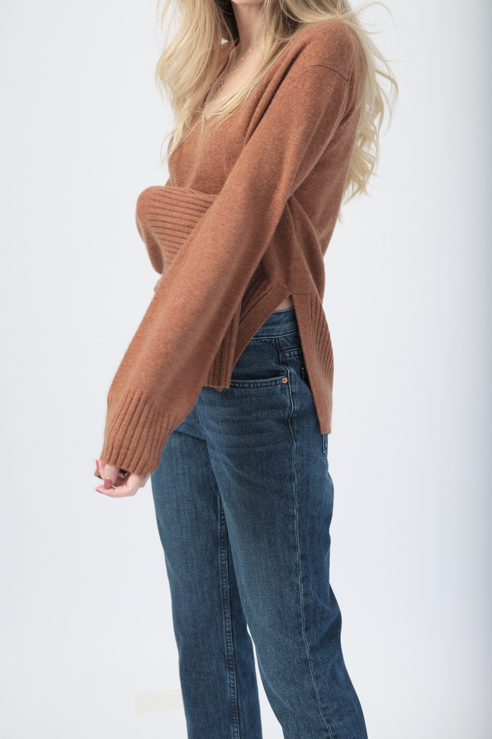 Cashmere Drapey V-Neck Sweater in Spice