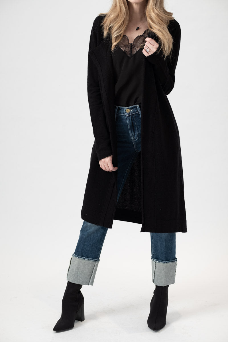 Cashmere Long Duster Cardigan in Black