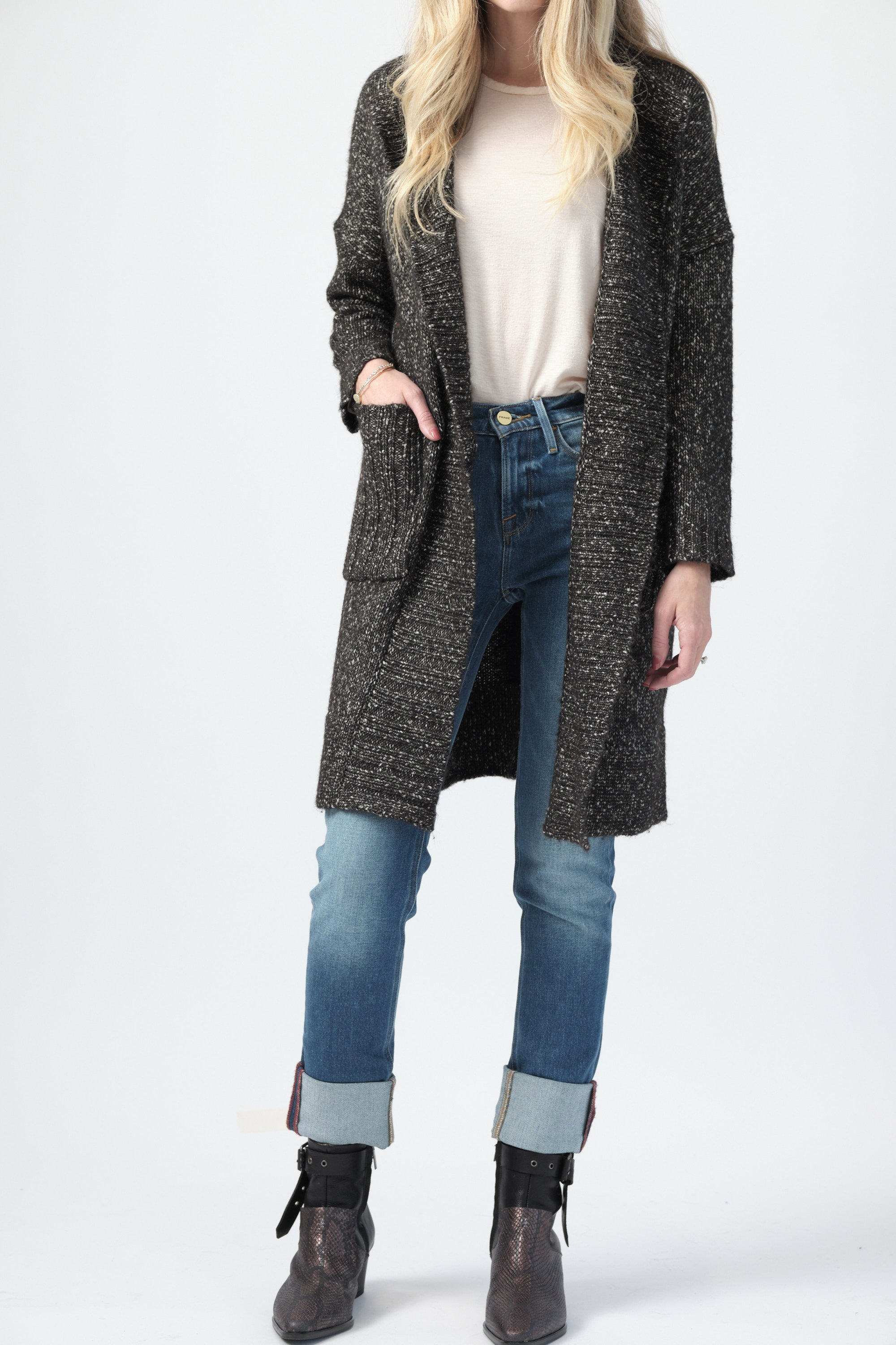 Cotton Duster Cardigan in Black