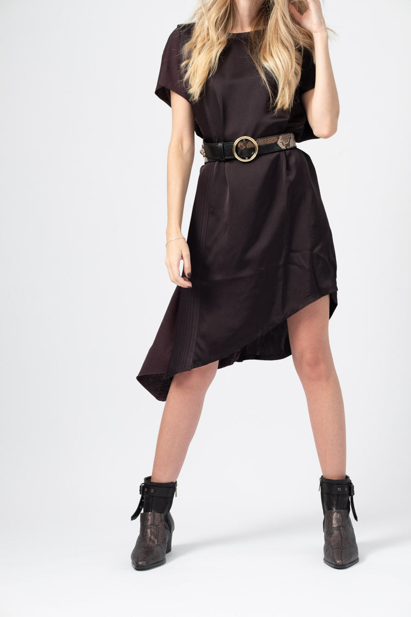 Viscose Satin / Cotton Jersey Dress in Must