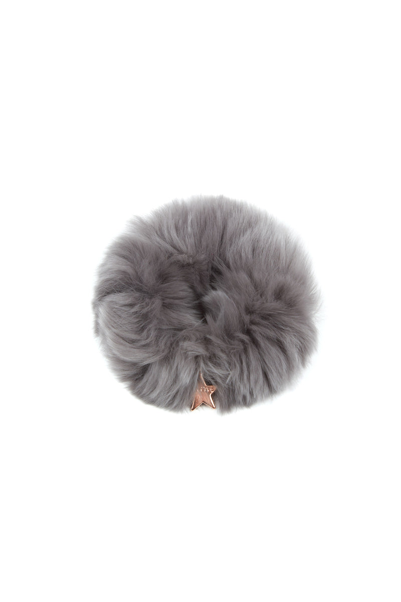 Rex Rabbit Fur Scrunchie in Grey