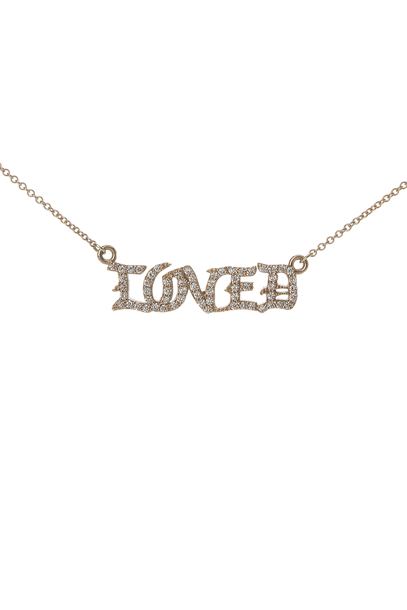 Diamond Studded Gothic LOVED Necklace in 18k Rose Gold