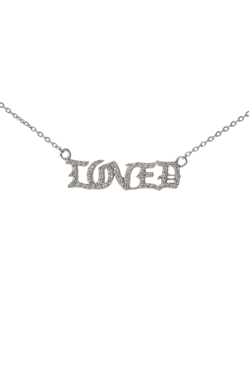 Diamond Studded Gothic LOVED Necklace in 18k White Gold