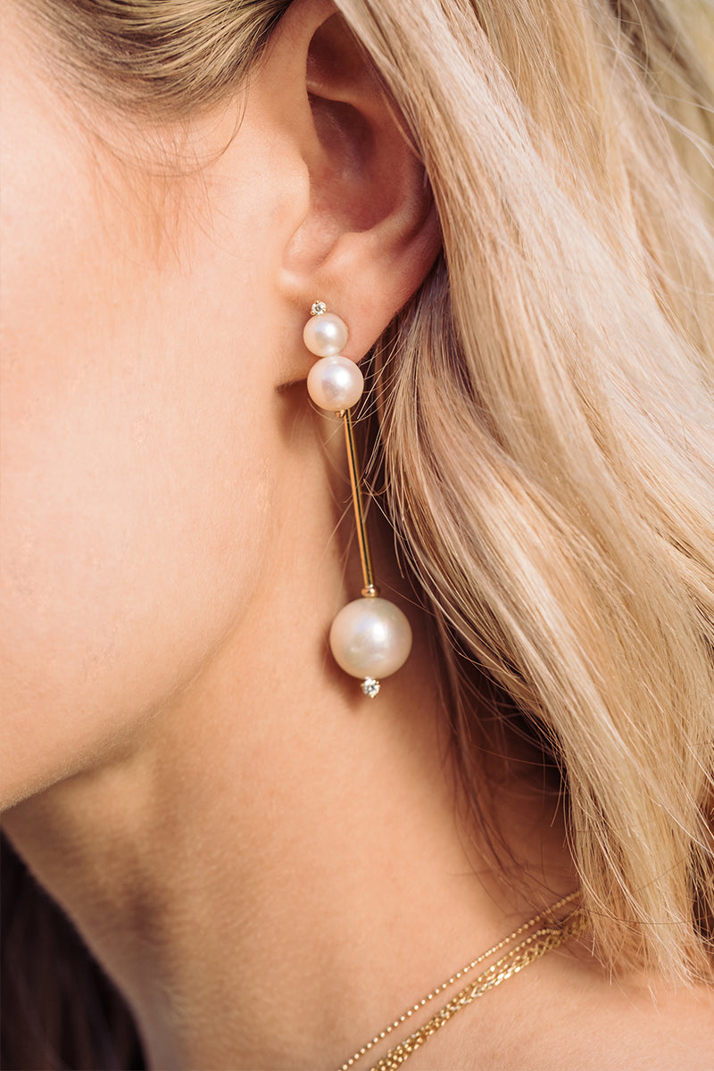 Long Hat Pin White Pearl Diamond Stick Earrings