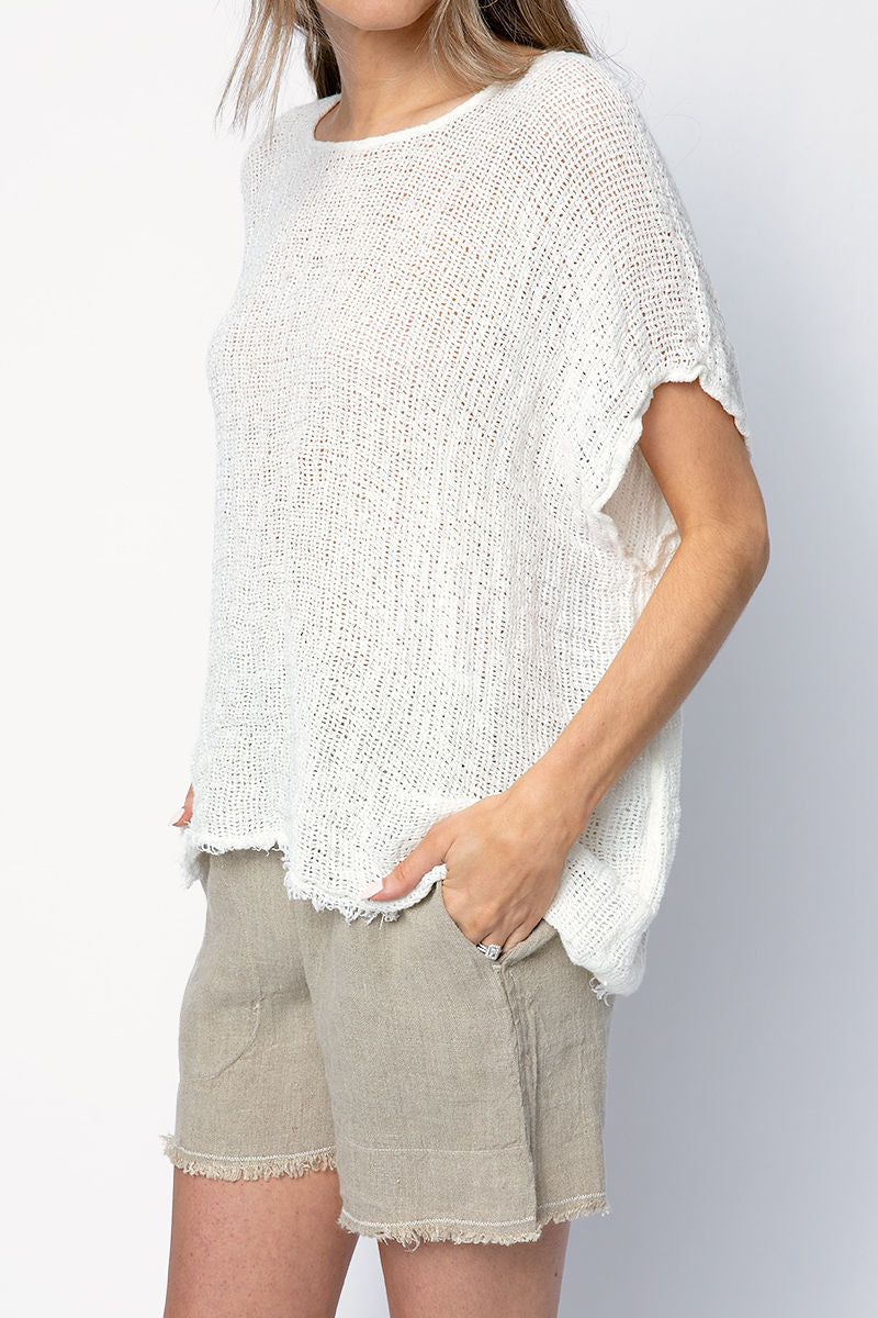 Icaro Linen Top in Latte