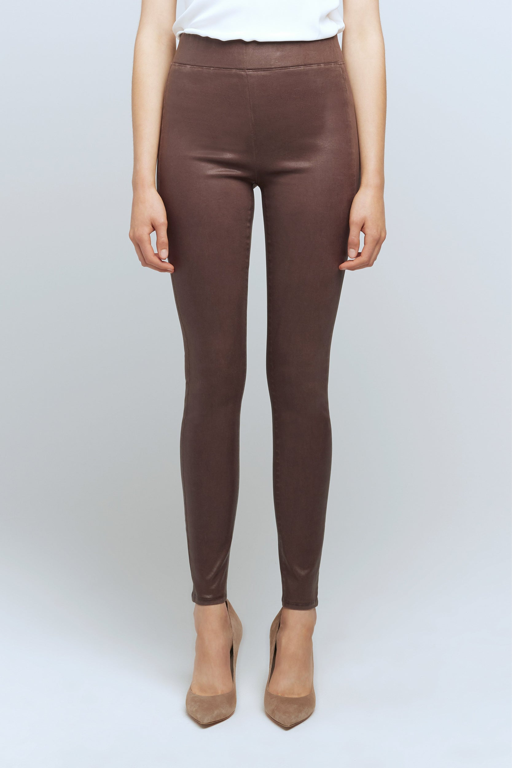 Rochelle Pull-On Jean in Mahogany Coated