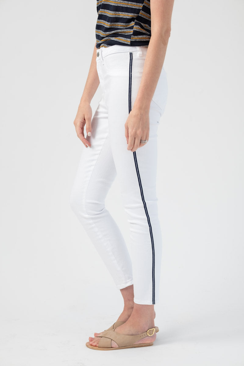 Margot Nautical Stripe Jean in Blanc