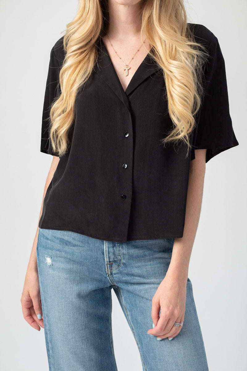 Theo Crop Blouse in Black