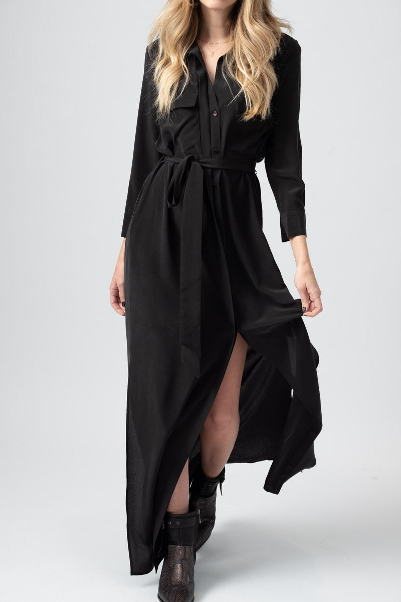 Cameron Long Shirt Dress in Black