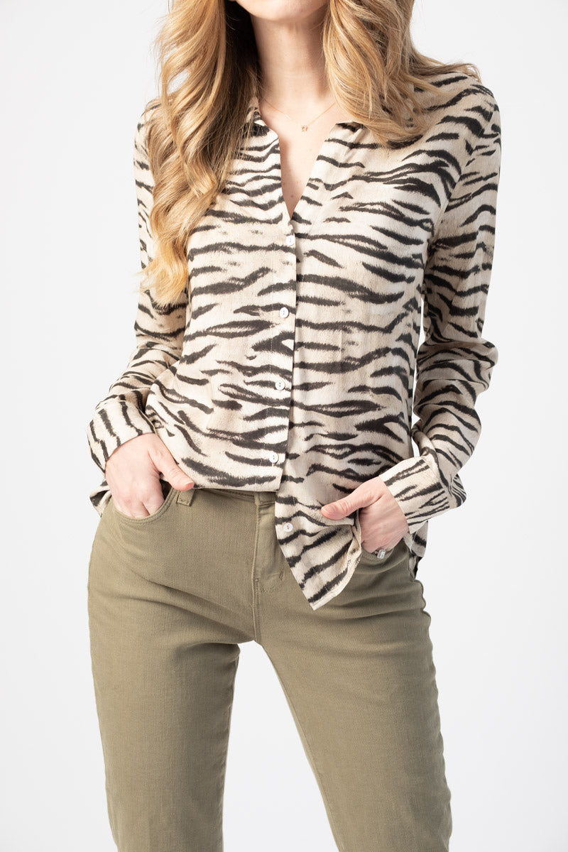 Holly Long Sleeve Blouse in Husk
